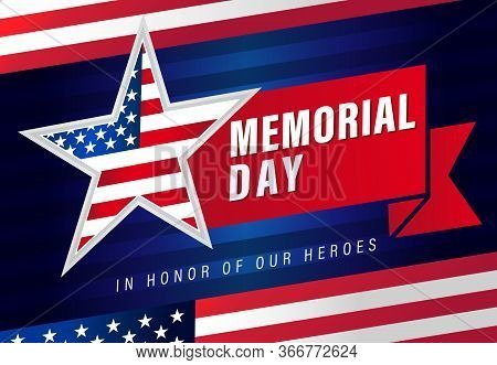 Memorial Day Usa Star & Flag Stripes Bannerr. Happy Memorial Day With Red Ribbon And Typography Lett