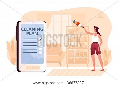 A Young Woman Wipes A Closet From Dust At Home In The Living Room. The Concept Of A Mobile Applicati