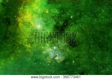 Beautiful Space Nebula Of Green Color. Elements Of This Image Were Furnished By Nasa.