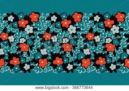 Colorful Hand Drawn Artistic Naive Daisy Flowers On Aqua Background Vector Seamless Pattern Border.