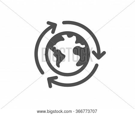 Global Business Icon. International Outsourcing Sign. Internet Marketing Symbol. Classic Flat Style.