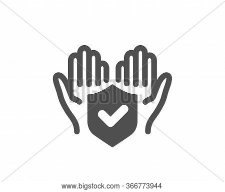 Insurance Hands Icon. Risk Coverage Sign. Policyholder Protection Symbol. Classic Flat Style. Qualit