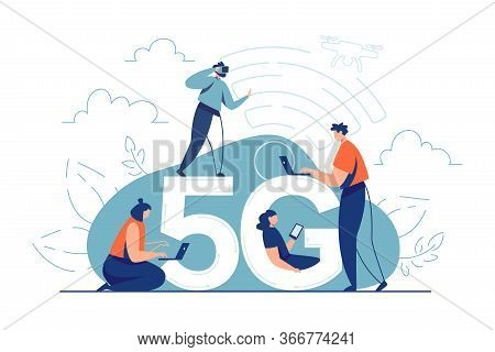 5g Internet Consept. Cellular Network Broadband Internet Technology.