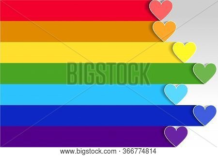 LGBT pride flag or rainbow pride flag on heart background. Rainbow lgbt spectrum flag of Gay Pride Movement, homosexuality emblem. The pride flag representing LGBT pride. LGBT rights concept.