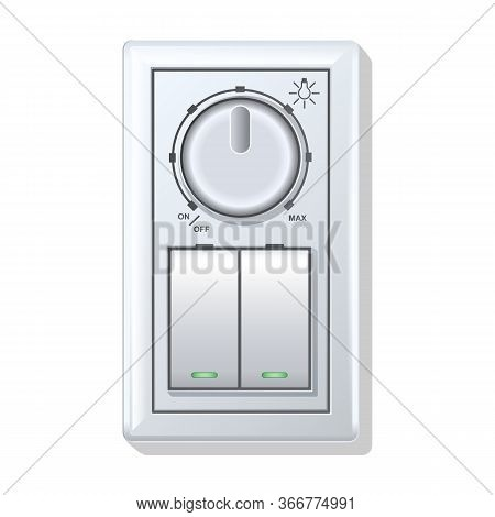 Socket Of Switch Vector Icon.realistic Vector Icon Isolated On White Background Socket Of Switch.