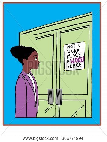 Color Cartoon Showing A Beautiful African American Woman Smiling As She Reads A Sign Stating That It