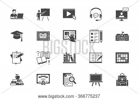Online Education Flat Icons. Vector Illustration Included Icon As Internet, Video, Audio Personal St