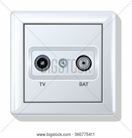 Socket Vector Icon.realistic Vector Icon Isolated On White Background Socket.