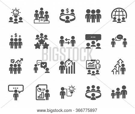 Meeting Icons. Conference, Seminar, Classroom. Team, Work And Business Idea Icons. Discussion, Class