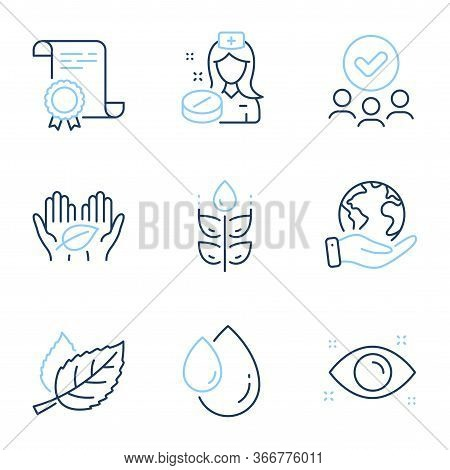 Nurse, Gluten Free And Leaf Line Icons Set. Diploma Certificate, Save Planet, Group Of People. Healt