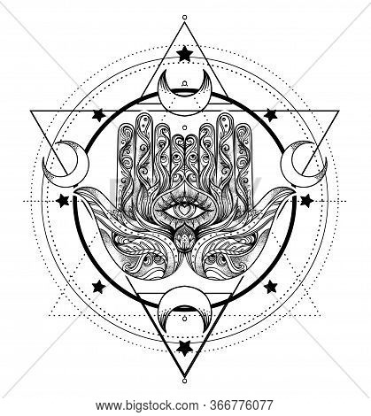 Ornate Hand Drawn Hamsa. Popular Arabic And Jewish Amulet. Vector Illustration Isolated On White. Ta