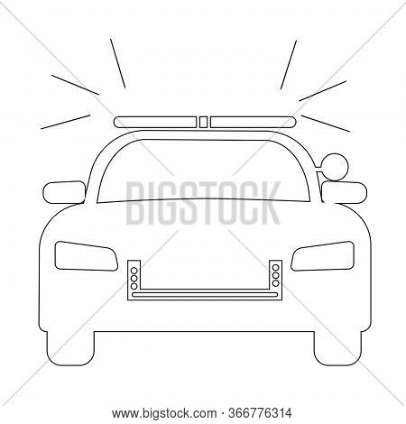 Police Cop Car With Siren Front View. Simple Black And White Outline Illustration Depicting Police E