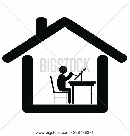 Painting From Home. Pictogram Depicting Artist Man Painting At Home. Lock Down Stay At Home Due To C