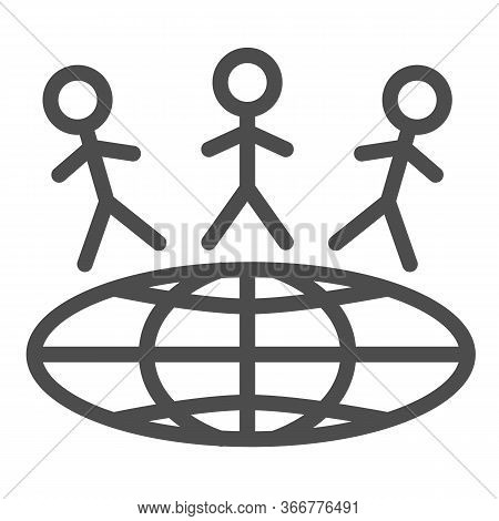 Children Around World Line Icon, World Children Day Concept, Earth With Kids Vector Sign On White Ba