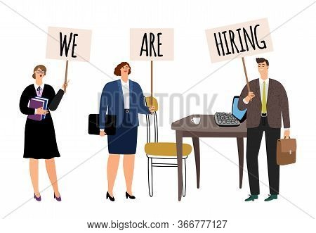 Hr Concept. We Are Hiring, Business People With Posters. Vacant Office Workplace Vector Illustration