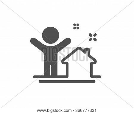 New House Icon. Home Building Sign. Buying Real Estate Symbol. Buyer And His Property. Classic Flat