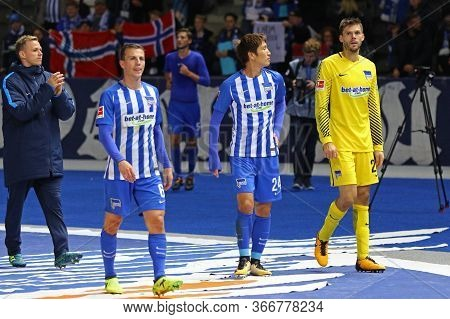 Berlin, Germany - September 20, 2017: Hertha Bsc Berlin Players Thank Their Fans After The German Bu