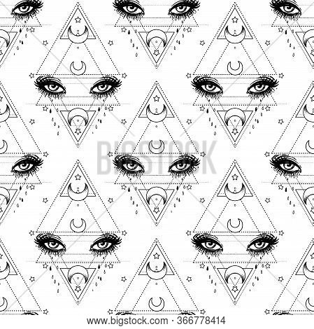 All Seeing Eye Seamless Pattern. Hand Drawn Vintage Style Background. Alchemy, Spirituality, Occulti