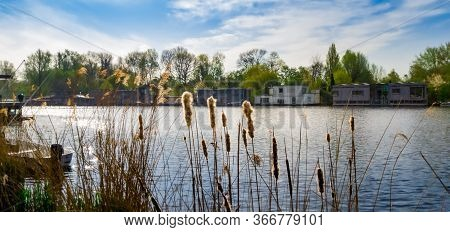 Riverside Houseboats. Panoramic Shot At Daytime During Spring