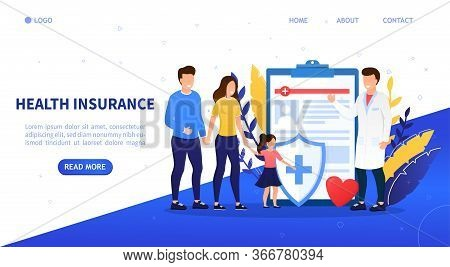 Family Health Insurance Concept. A Young Happy Family Comes To Insure. Attractive Characters Buy A F