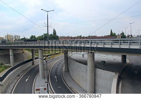Lodz / Poland. 18 June 2019:  Two-story Asphalted Road In Lodz. Road Architecture In Poland. Two-sto