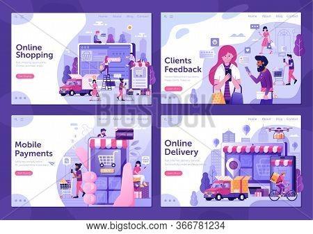 Online Shopping E Commerce Flat Web Banners