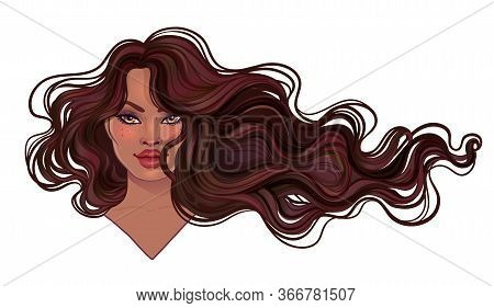 Beautiful Woman With Long Wavy Hair Flowing In The Wind. Hair Salon Concept. Vector Illustration Iso