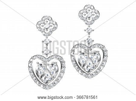 Beautiful Earrings On White Background. 3D Rendering.