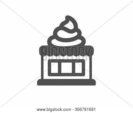 Ice Cream Shop Icon. Vanilla Sundae Sign. Frozen Summer Dessert Symbol. Classic Flat Style. Quality