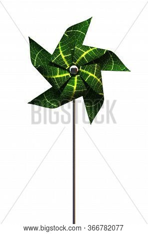 A Green Toy Pinwheel Windmill Made Out Of Real Leaves On An Isolated White Studio Background - 3d Re