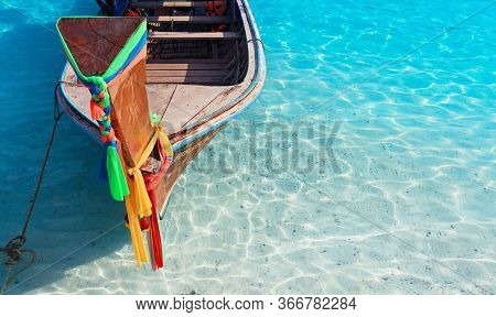 Travel Background. Beautiful Thailand Tropical Sand Beach View With Decorated Traditional Longtail B