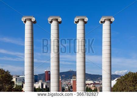 View Of The Famous Four Columns (les Quatre Columnes) Created By Josep Puig I Cadafalch. Barcelona,