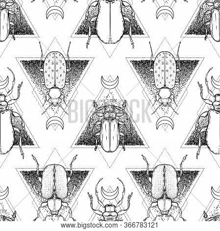 Black And White Beetle Over Sacred Geometry, Isolated Vector Illustration. Seamless Pattern. Mystica