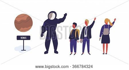 Happy Pupils And Cosmonaut At Planetarium Vector Flat Illustration. Man Character In Spacesuit Greet