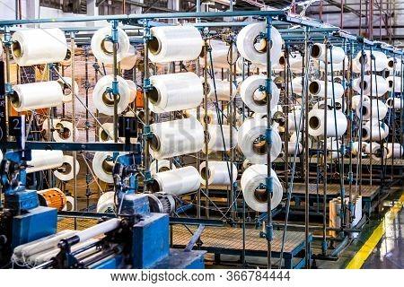Cotton Thread Bobin On A Copwinder Weft Assembly Line Loom