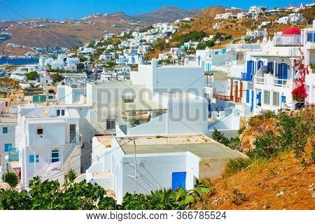 White littke houses of Mykonos Island, Greece - Colorful greek landscape