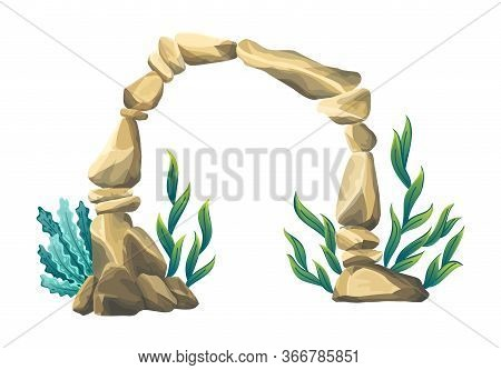Underwater Sandstone Arch. Natural Underwater Seascape. Marine Green Algae Part Of The Seabed