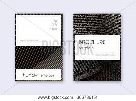 Stylish Cover Design Template Set. Gold Abstract Lines On Black Background. Favorable Cover Design.