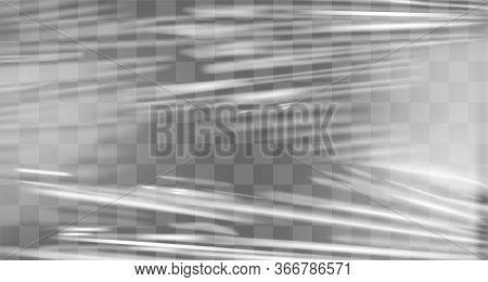 Transparent Stretch Plastic Wrap Texture. Realistic Polyethylene Wrapping Stretch Film Background. V