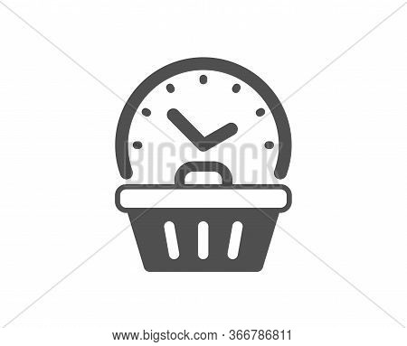 Last Minute Sale Icon. Shopping Opening Hours Sign. Supermarket Time Symbol. Classic Flat Style. Qua