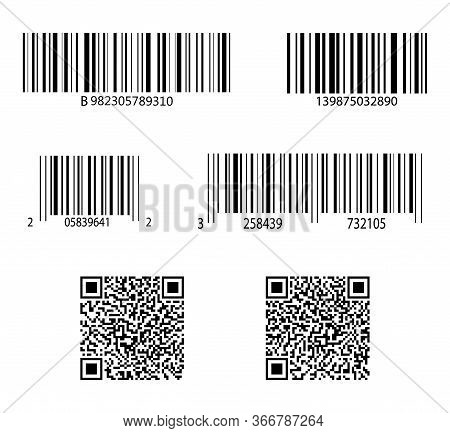 Code Bar. Barcode For Scan. Qr Sticker, Scanner. Label Of Product. Retail Sale With Identification.