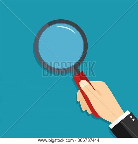 Glass Magnify In Hand. Lens Of Magnifying Loupe For Search. Cartoon Zoom For Detective. Man Hold Mag