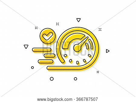 Time Concept Sign. Speedometer Icon. Yellow Circles Pattern. Classic Speedometer Icon. Geometric Ele
