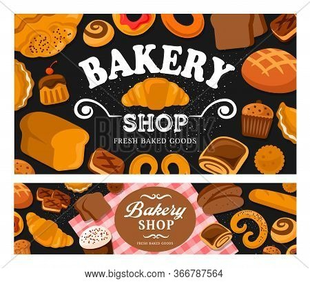 Bread And Bakery Vector. Baker Shop Bake Bagels And Buns Assortment. Fresh And Tasty Baking Rye Swee