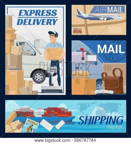 Freight And Post Mail Parcels Delivery, Courier An Postman. Cartoon Van, Airplane And Shipping Post