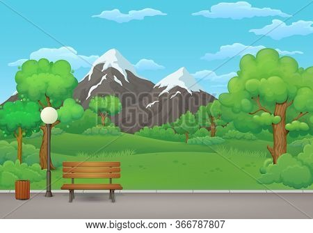 Summer, Spring Day Park Vector Illustration. Wooden Bench, Trash Bin And Street Lamp On An Asphalt P