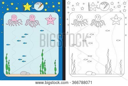 Preschool Worksheet For Practicing Fine Motor Skills - Tracing Dashed Lines From Octopuses To The Bo