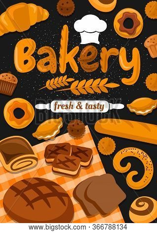 Bakery Shop Bread, Pies Or Bagels And Buns, Baker Shop Baking Production, Typography With Wheat Spik