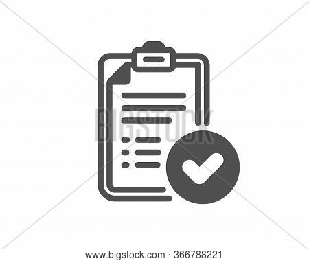 Approved Report Icon. Accepted Document Sign. Verification Symbol. Classic Flat Style. Quality Desig
