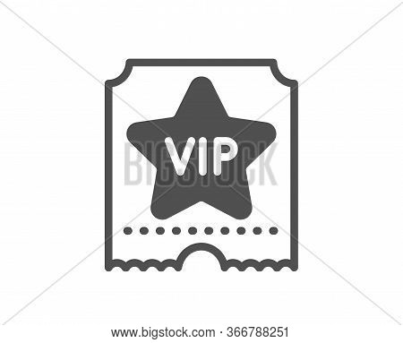 Vip Ticket Icon. Very Important Person Sign. Member Club Privilege Symbol. Classic Flat Style. Quali